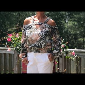 Strap/off shoulder natural palm print
